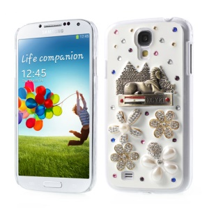 3D Egypt Sphinx Pretty Flower Diamante Hard Shell for Samsung Galaxy S4 IV i9502