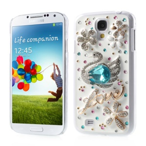 3D Blue Diamond Stone Swan & Flower Design Hard Case for Samsung Galaxy S4 IV i9502