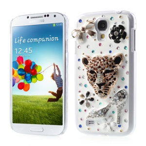 Fashion Leopard Head & High Heels Bling Diamond Hard Case for Samsung Galaxy S4 IV i9505
