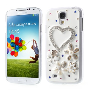 Sparkling Diamant Heart & Flowers 3D Design Hard PC Case for Samsung Galaxy S4 IV i9505
