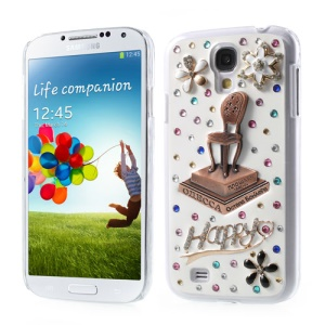 3D Chair on Platform Rhinestone Inlaid Hard Cover for Samsung Galaxy S4 IV i9505 i9500 i9502