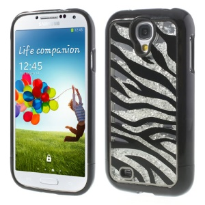 Black for Samsung Galaxy S4 I9500 Zebra Rhinestone Inlaid Mirror Hard Case