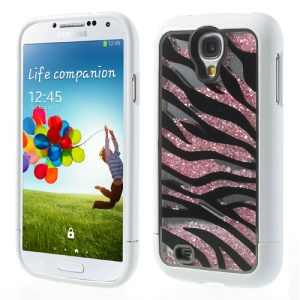 White for Samsung Galaxy S4 I9500 Zebra Rhinestone Inlaid Mirror Hard Case