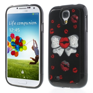 Black Bowknot & Lips Diamond 3 in 1 Hard Cover for Samsung Galaxy S4 I9505