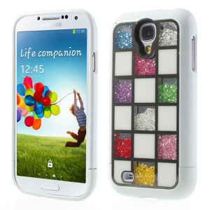 Colorized Square Diamante Inlaid for Samsung  I9500 Galaxy S4 Detachable Hard Back Case