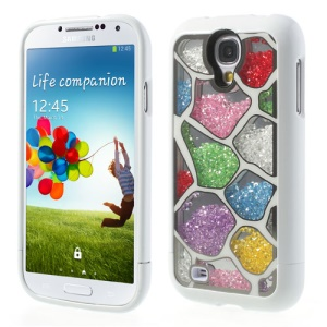 Colorized Irregular Patterns for Samsung I9500 Galaxy S4 Diamante Inlaid 3 in 1 Hard Back Case