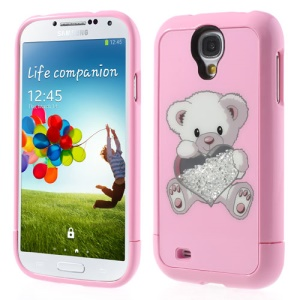 Pink Bear Holding Heart for Samsung I9505 Galaxy S4 Rhinestone Inlaid 3 in 1 Hard Skin Case