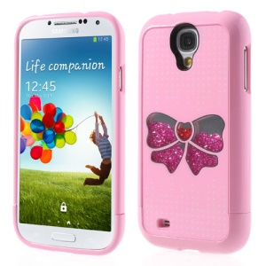 Pink Bowknot & Dots Diamond 3 in 1 Hard Cover for Samsung Galaxy S4 I9505