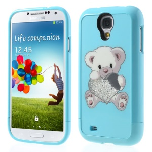 Blue Bear Holding Heart for Samsung I9505 Galaxy S4 Rhinestone Inlaid 3 in 1 Hard Skin Case