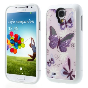 Purple Butterflies Rhinestone Inlaid 3 in 1 Hard Skin Case for Samsung I9505 Galaxy S4