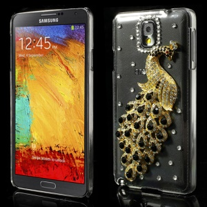 Black Luxury Peacock Crystal Diamond Case for Samsung Galaxy Note 3 N9005 N9002