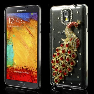 Red Luxury Peacock Crystal Diamond Case for Samsung Galaxy Note 3 N9000 N9002