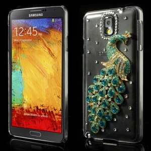 Green for Samsung Galaxy Note III N9005 Sparkling Peacock Crystal Diamond Shell