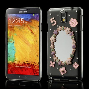 Mirror Flowers Diamond Crystal Case Shell for Samsung Galaxy Note 3 N9005 N9002 N9000