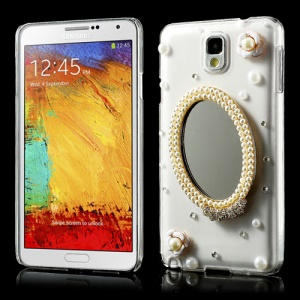 Luxury Pearl Flower & Real Mirror Rhinestone Crystal Case for Samsung Galaxy Note 3 N9005