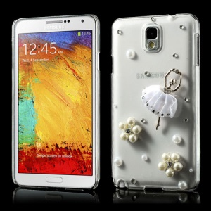 Pearl Flower Ballerina Diamond Clear Crystal Case for Samsung Galaxy Note 3 N9002