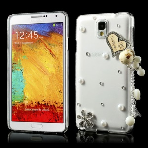 Diamante Heart Flower Pearl Pendant Crystal Case for Samsung Galaxy Note 3 N9000