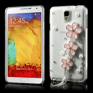 3D Pink Rhinestone Flowers Clear Crystal Case for Samsung Galaxy Note 3 N9002