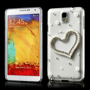 For Samsung Galaxy Note 3 N9000 N9005 Sparkling Heart Pearl Diamond Cover
