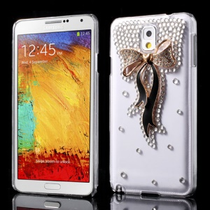 Black for Samsung Galaxy Note 3 N9000 Bowknot Rhinestone Crystal Case