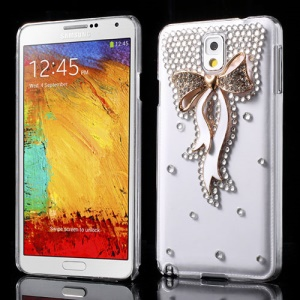 White for Samsung Galaxy Note 3 N9005 Bowknot Rhinestone Crystal Case