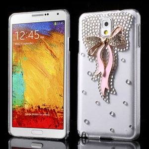 Pink for Samsung Galaxy Note 3 N9002 Bowknot Rhinestone Crystal Cover