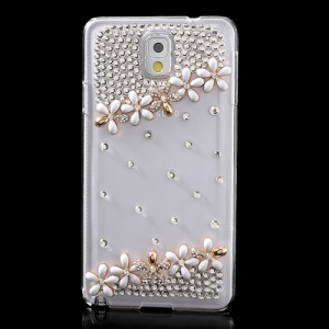 White for Samsung Galaxy Note 3 N9005 Sparkling Diamond Flower Crystal Cover