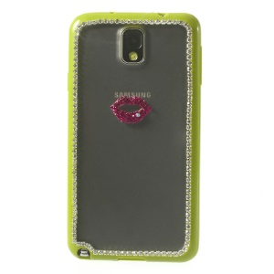 Sexy Lip Diamond PC + TPU Shell Case for Samsung Galaxy Note 3 N9000 - Yellowgreen