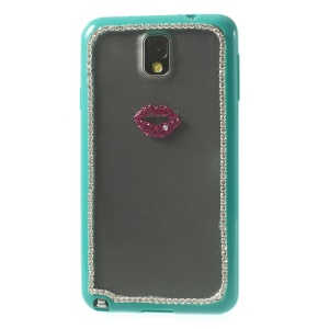 Sexy Lip Diamante Matte PC + TPU Cover for Samsung Galaxy Note 3 N9005 - Cyan