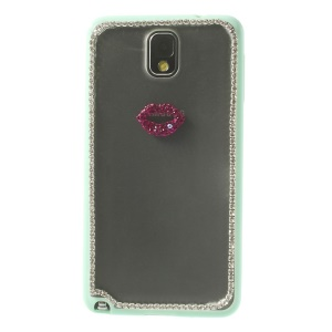 Sexy Lip Diamante Matte PC + TPU Shell for Samsung Galaxy Note 3 N9002 - Mint
