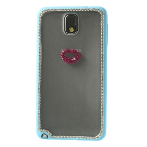 Sexy Lip Diamante PC + TPU Hybrid Shell for Samsung Galaxy Note 3 N9000 - Blue