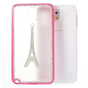 Eiffel Tower Diamante PC + TPU Hybrid Case for Samsung Galaxy Note 3 N9000 - Rose