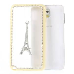 Eiffel Tower Diamond PC + TPU Back Case for Samsung Galaxy Note 3 N9002 - Pale Yellow