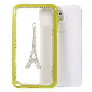 Eiffel Tower Diamond PC + TPU Back Case for Samsung Galaxy Note 3 N9000 - Yellowgreen