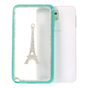 For Samsung Galaxy Note 3 N9005 Eiffel Tower Diamond Matte PC + TPU Shell Cover - Mint