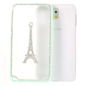 For Samsung Galaxy Note 3 N9002 Eiffel Tower Diamond Matte PC + TPU Shell Cover - Cyan
