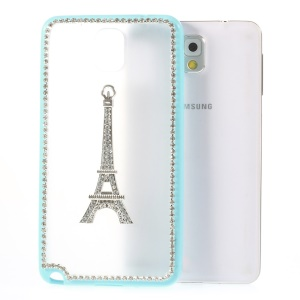 For Samsung Galaxy Note 3 N9000 Eiffel Tower Diamond PC + TPU Shell Case - Blue