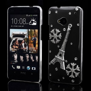 Bling Bling Eiffel Tower Crystal Rhinestone Case for HTC One M7 801e