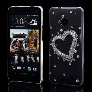 Sparkling Diamond Heart Crystal Case Cover for HTC One M7 801e