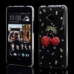 Bling Bling Compelling Cherry Rhinestone Case Shell for HTC One M7 801e