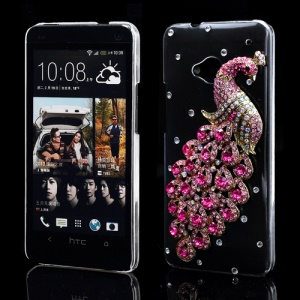 Luxury 3D Peacock Diamond Case Cover for HTC One M7 801e