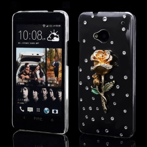 Dazzling Gold Rose Crystal Rhinestone Case Cover for HTC One M7 801e