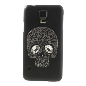 Silver Skull Head Black Rhinestone Case for Samsung Galaxy S5 G900