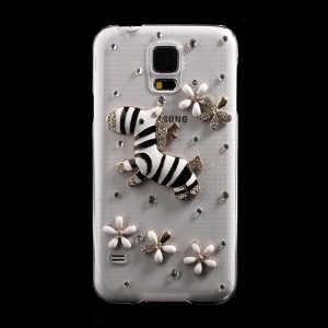 Diamante Gold Zebra & Flowers Crystal PC Case for Samsung Galaxy S5 G900 GS 5