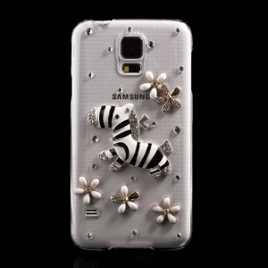 Diamante Silver Zebra & Flowers Crystal Back Case for Samsung Galaxy S5 G900 GS 5