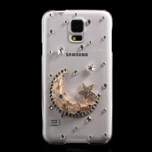 Crescent Moon & Stars Diamond PC Crystal Case for Samsung Galaxy S5 G900 GS 5