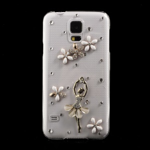 Diamond Dancing Angel & Flowers Crystal Hard Case for Samsung Galaxy S5 G900 GS 5