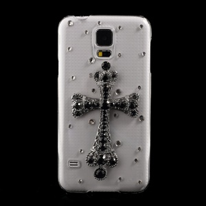 3D Cross Rhinestone Crystal Plastic Case for Samsung Galaxy S5 G900 GS 5