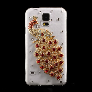 Red Diamante Peacock Crystal Hard Cover for Samsung Galaxy S5 G900 GS 5
