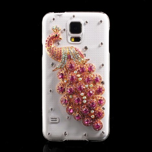 Rose Diamante Peacock Crystal Case Cover for Samsung Galaxy S5 G900 GS 5